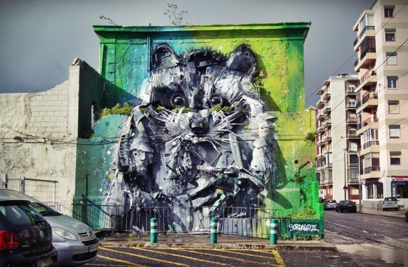 Street art Lisboa, mapache